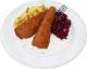 Backfisch mit Remouladensauce [15] dazu Röstkartoffeln und Rohkost